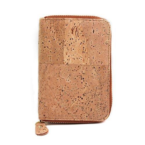 Corcho cartera, Boshiho titular de la tarjeta de Crédito Monedero Cartera con cremallera alrededor de diseño con bolsillo para monedas respetuoso con el medio ambiente–regalo Marrón canela