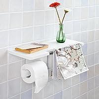 SoBuy® FRG175-W Dérouleur Papier Toilette - Distributeur WC Porte Papier mural avec support pour déposer Smartphone et porte-revues- Blanc