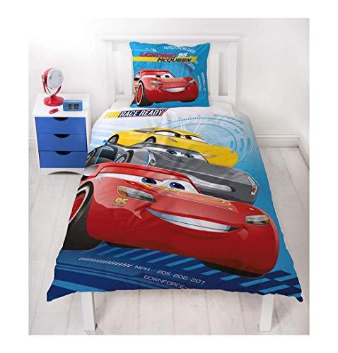 Disney Pixar CARS 3 RACE READY Auto Motiv Kinder FLANELL / BIBER Bettwäsche Wende Motiv - 2 tlg. Kissenbezug 80x80 + Bettbezug 135x200 cm - 100 % Baumwolle