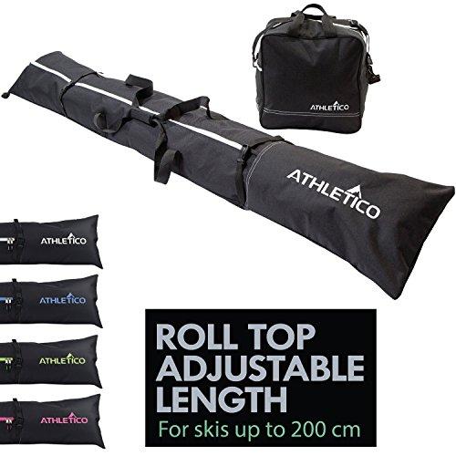 Athletico zweiteiliges Ski und Boot Bag Combo | Store & Transport Ski bis 200 cm und Stiefel bis Größe 13 | inkl. 1 Ski Bag & 1 Ski Boot Bag (Schwarz) (Combo Ski-und Boot Bag)