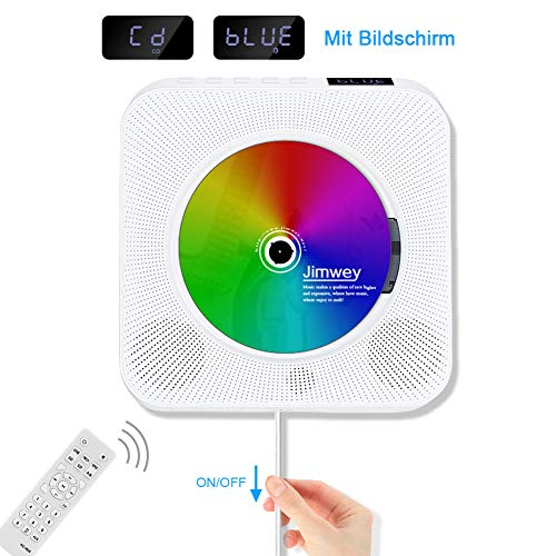 Jimwey CD Player Wandmontierbarer Bluetooth Lautsprecher FM Radio MP3 USB Musikplayer mit Schlaf-Timer LED Display Fernbedienung 3,5mm Kopfhörer Buchse AUX Eingang Ausgang Weiß