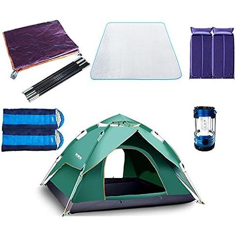 Resorte Automático de tienda al aire libre a prueba de lluvia de camping 3–4personas tienda de campaña doble litera Juego de 2