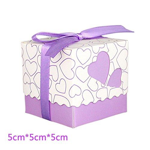 Bomboniere scatole, hipsteen 50pz stile europeo amore cuore bomboniere caramella scatole portaconfetti scatole pacco regalo con nastro fai da te matrimonio partito baby shower - viola