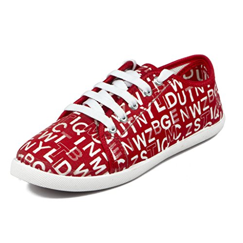 Asian shoes LR-17 Red Canvas Ladies Shoes 6UK/India