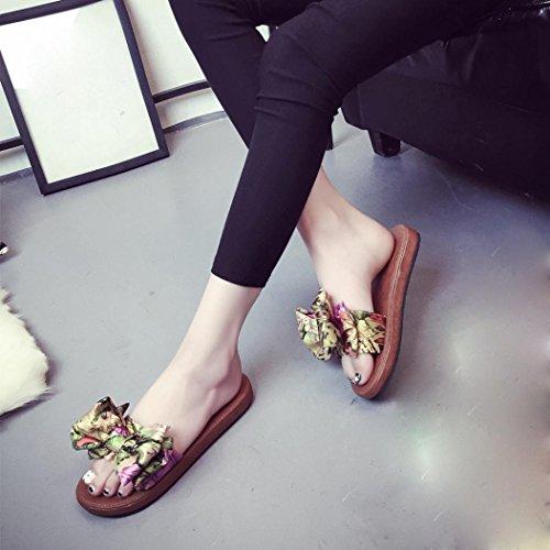 Transer ® Mode femmes été bowknot pantoufles molles talons plats tongs Bohème sandales Jaune
