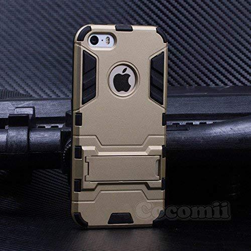 Cocomii Iron Man Armor iPhone SE/5S/5C/5 Hülle NEU [Strapazierfähig] Taktisch Griff Ständer Stoßfest Gehäuse [Militärisch Verteidiger] Ganzkörper Case Schutzhülle for Apple iPhone SE/5S/5C/5 (I.Gold) (5c Iphone Armor Body)