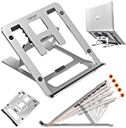 Tukzer Foldable Laptop Stand Lapdesks (Aluminium), 5-Angles Adjustments, Portable Notebook Riser Stand, Ventil