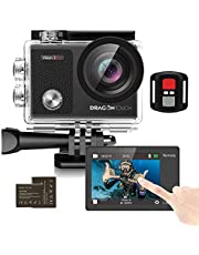 Dragon Touch 4K30fps Touch Screen Action Camera Vision3 Pro 16MP WiFi Sports Camera 30M Waterproof Underwater Camera 170°Wide Angle 4X Zoom with 2 Batteries and Mounting Accessories