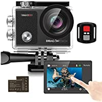 Dragon Touch Touch Screen Action Camera, 4K 16MP Underwater 100ft Waterproof Camera, 2 Rechargeable Batteries and Mounting Accessories Kit - Vision 3 Pro