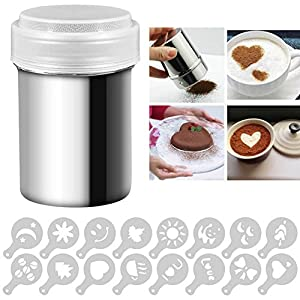 Espeedy Stainless Steel Powder Shakers Cans for Coffee Cocoa Cinnamon Powder with 16 pcs Printing Molds Stencils Tool
