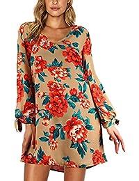 JunJunBag Elegante Vestito Manica Lungo Donna Abito Corto Scollo V Spalla  Scoperte Stampa Floreale 2767ea79b57