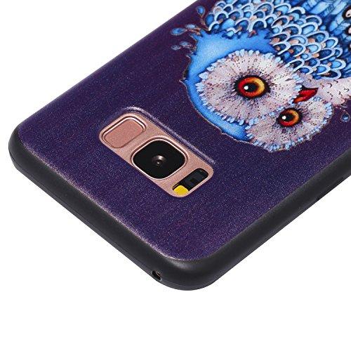 S8 Hülle ,Samsung S8 Shell Case , Galaxy S8 Black Hülle, Cozy Hut® [Liquid Crystal] [Matte Black] [With Lanyard/Strap] Samsung Galaxy S8 Ultra Slim Schutzhülle ,Anti-Scratch Shockproof und Schutz vor  Melancholische Eule