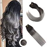 Ugeat 18 Zoll Farbe Silver Haarverlangerung Echthaar Clips Glatt Remy Brasilianisch Tressen Echthaar Clip in Extensions 120g 9Pcs/set