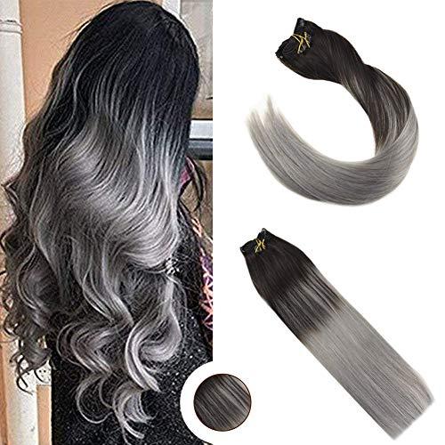 Ugeat 20 Zoll Farbe Silver Haarverlangerung Echthaar Clips Glatt Remy Brasilianisch Tressen Echthaar Clip in Extensions 120g 9Pcs/set