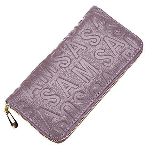 MeiliYH Ladies Long Sezione Cuoio in rilievo Lettera con Zippered Portafoglio Beige