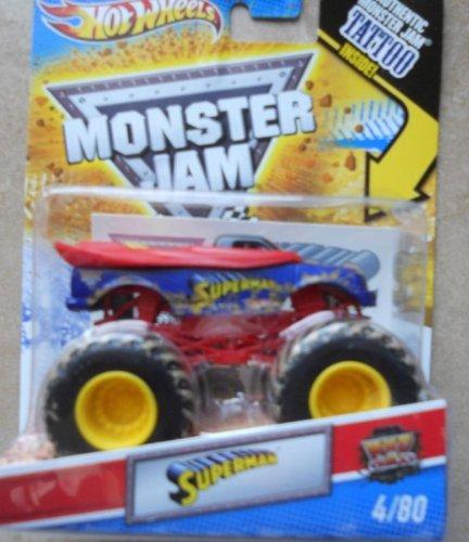 Superman (Mud Trucks) - Hot Wheels Monster Jam 2011 Tattoo Series #4/80 1:64 Scale (Small Version) by Mattel (English Manual)