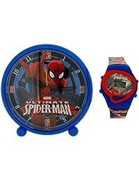 Ultimate Spider-Man junto a su cama del reloj de alarma y reloj Digital Set de regalo MV10042