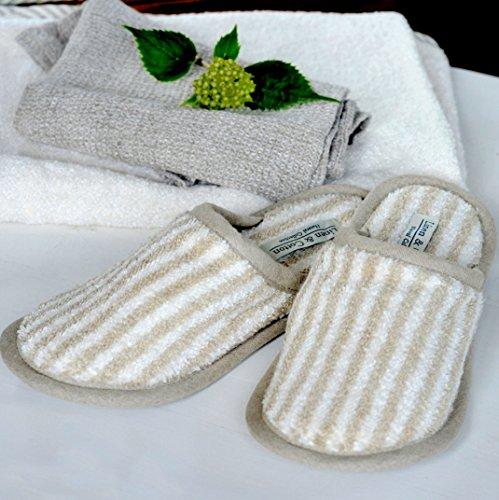 Linen & Cotton, Chaussons de Bain de Luxe Rayé