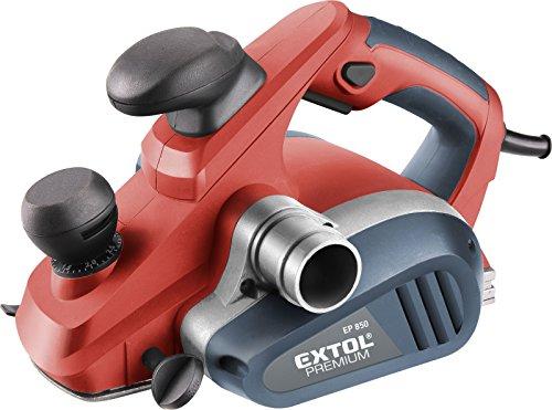 Extol Premium Handhobel, 850 W, Hobelbreite 82 mm, 0-3 mm Spandicke, Parallelanschlag, Staubbeutel, 1 Stück, rot, 8893402