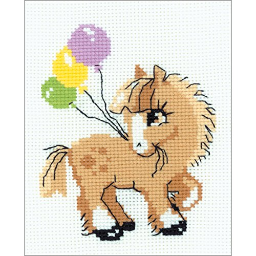 Riolis Kreuzstich-Set Pony, Baumwolle, Mehrfarbig, 15 x 18 x 0.1 cm -