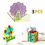alletechplus 3Pack Geburtstag Karten 3D Pop up Tag der Kinder Grußkarte mit 3Umschläge
