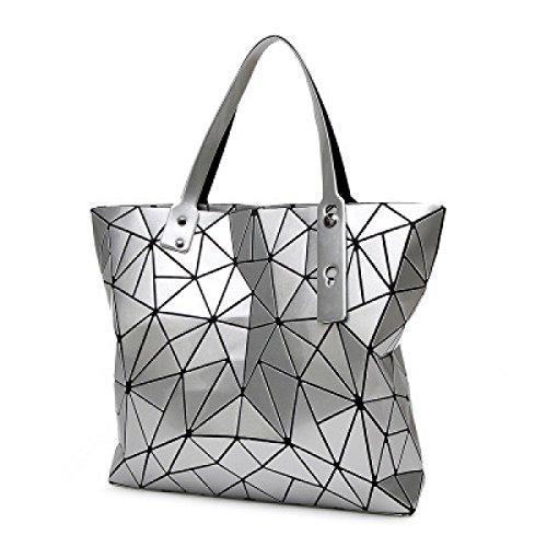 FZHLY Signore Laser Rhombus Bag Pieghevole Geometrica Lingge Spalla Irregolare Bag,Silver Silver