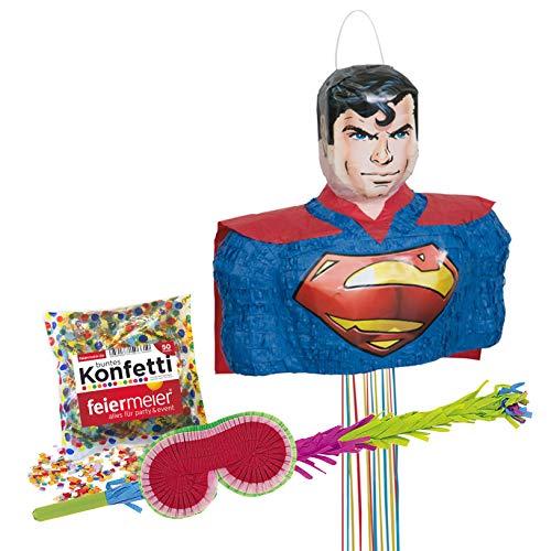 PartyMarty Superman Pinata Pinata-Set: mit Schläger + Maske + Konfetti aus Papier bunt, 50g, GmbH® für den Kindergeburtstag, Kinder-Feiern, Geburtstag, Hochzeitsspiel, Justice League Trolli