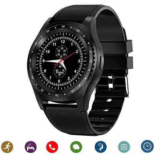 Bluetooth Smartwatch, CanMixs CM08 Smart Uhren Telefon Unterstützung SIM TF Karte mit Kamera Benachrichtigung Sync Kompatibel für Android IOS iPhone Samsung LG Handys (schwarz)