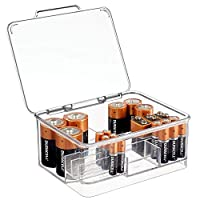 mDesign Battery Box - Battery Holder for Neatly Organising Different-Sized Batteries - Plastic Storage Box with Dividers and Hinged Lid - Clear