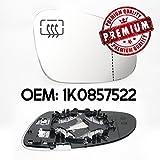 Derecho Gran Angular Espejo Retrovisor con calefacción y Base cristal OEM 1K0857522