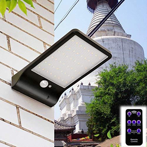 48 LED Solar Wandleuchte Solarleuchte Außenleuchte mit Bewegungsmelder und Fernbedienung IP65 Wasserdicht Sicherheitslicht für Gärten, Türe, Flur, Wege, Terrassen, Patio, Zaun,Außenbereich