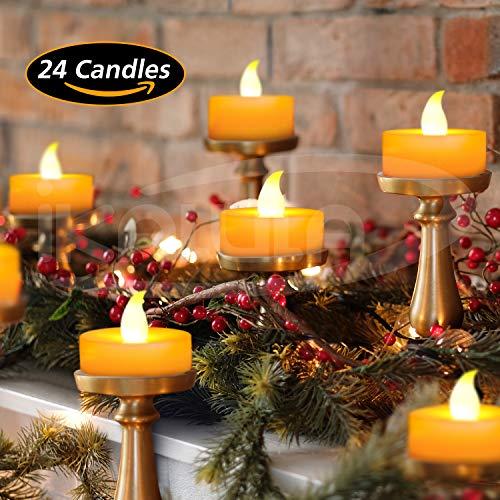 LED Kerzen, 24 LED Kerzen Flammenlose Kerzen LED-Teelichter Flackernde Kerze Elektrische Kerze Lichter Dekoration für Weihnachten, Halloween, Party, Hochzeit (Flicker Gelb) ()