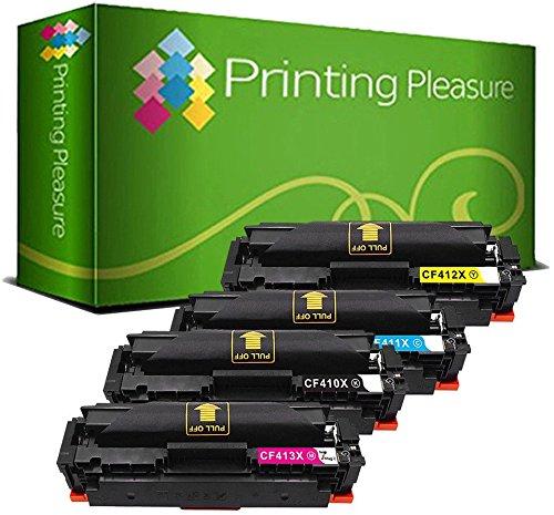 Printing Pleasure 4 Compatibles CF410X CF411X CF412X CF413X 410X Cartuchos de tóner para HP Laserjet Pro MFP M477fdn M477fdw M477fnw M452dn M452nw M452dw - Negro/Cian/Magenta/Amarillo, Alta Capacidad