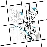 creatisto Fliesen aufkleben | Muster-Fliesenfolie Badezimmerfliesen Dekofolie Küchengestaltung | 20x25 cm Design Motiv Bamboo 1-4 Stück
