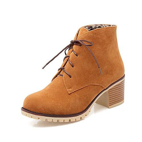 Voguezone009 Mujeres Punta Redonda Tie Tassel Pure Yellow Boots