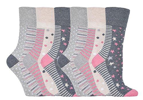 Gentle Grip - 6 Paar Damen Gesundheitssocken Diabetiker Druckfreie Spitze Handgekettelt Baumwollanteil Blumen Socken 37-42 EUR (GG92 Muted Spot/Stripe) (Spot-spitze)