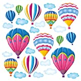 Decowall DW-1301AC-2 12 Heißluftballons im Himmel Wandtattoo Wandsticker Wandaufkleber Wanddeko für Wohnzimmer Schlafzimmer Kinderzimmer