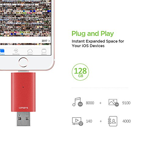 Omars Memoria USB 3.0 para iPhone iOS Rojo Flash Drive 128GB [Certificado MFI de Apple] Pendrive Memoria Externa para iPad iOS PC Macbook