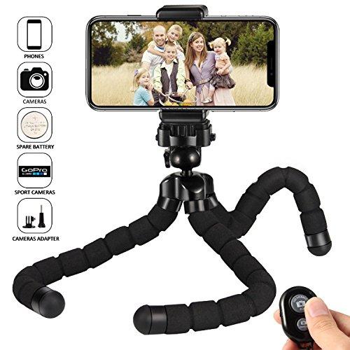 Kungfuren Handy stativ handy für iphone stativ Halterung mit Bluetooth Fernbedienung, Kamera Fernbedienung mit Auslöseknopf für Android und iOS Smartphones, iPad, Digital Kamera, Actions Cam Go Pro (Digital-kamera-auslöser)