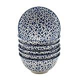 Müslischüssel mit Muster - Gänseblümchen-Design - Weiß & Blau - 153 mm - 6 Stück