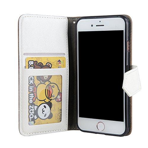iPhone 7 Custodia, Cover iPhone 7, JAWSEU iPhone 7 4.7 Custodia Cover Colore di Contrasto Lusso Liscio Retro Custodia per Apple iPhone 7 Telefono Custodia con Morbido Silicone Case e Porta carte di cr Retro Marrone