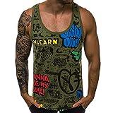 SuperSU Herren Tanktop ➣➤Sommer Rundhals Graffiti Print Tank Top Tankshirt T-Shirt,Unterhemden Beiläufige Ärmellos Muskelshirt Sport Shirt Street Style Weste Turnhalle Sweatshirt