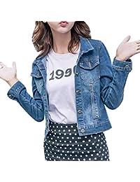 Jeansjacke Damen Kurz Freizeit Boyfriend Revers Longsleeve Jeans Jacke Blau  Elegante Mädchen Fashion Trend Streetwear Apparel… fa61b1975a