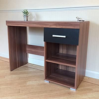Black & Walnut Dressing Table - 1 Drawer & Shelf - Vanity Unit or Small Desk - low-cost UK dressing table store.