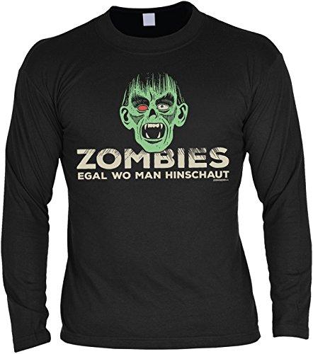 Gruseliges Halloween Fun Langarmshirt Herren - Zombies egal wo man hinschaut - T-Shirt Unisex, Farbe: (Last Halloween Kostüme Zombie Minute)
