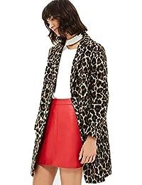 Topshop Ex Womens Leopard Print Slim Fit Ladies Boyfriend Wool Blend Coat