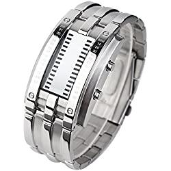 Binary Men's Binary Matrix Wrist Watch LED Digital Waterproof Classic Fashion - Silver