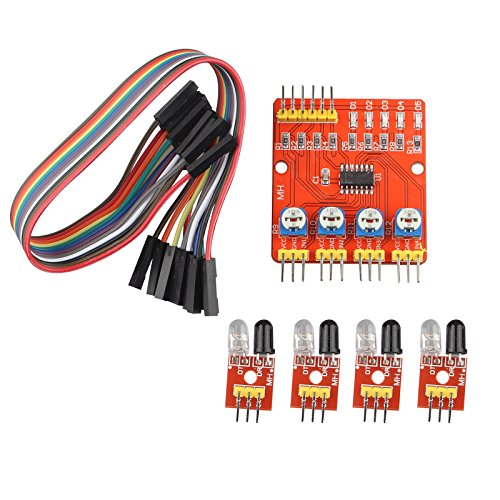 haljia 4-Kanal Infrarot-Tracking-Hindernis Vermeidung Sensor Modul 4CH IR Line drückernut Sensor PCB Board für Smart Car/Arduino