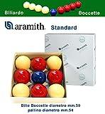 Bilie boccetta Aramith Standard, Diametro m.59, pallino Diametro m.54 in Resina fenolica. 4 Rosse - 4 Bianche - pallino Blu