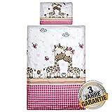 Aminata Kids Giraffe Bettwäsche 100x135 cm + 40 x 60 cm aus Baumwolle mit Reißverschluss, unsere Kinderbettwäsche mit Giraffen-Motiv ist weich und kuschelig